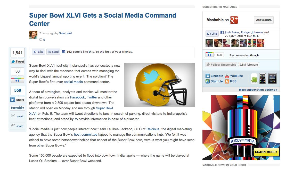 Raidious Social Media Command Center for Super Bowl XLVI on Mashable