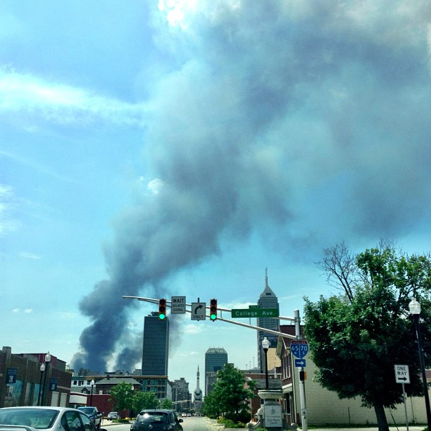 Warehouse fire on the west side of downtown